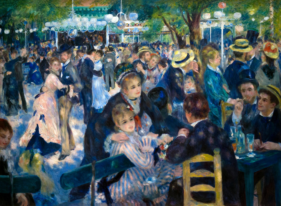 Dance at Le Moulin de la Galette, Bal du moulin de la Galette, by Pierre Auguste Renoir, 1876, Musee D'Orsay Paris France Europe
